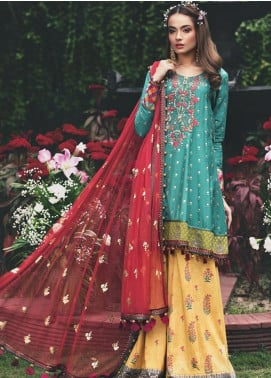 Maria B Embroidered Cotton Satin Unstitched 3 Piece Suit MB20W 208 Deep Feroza - Winter Collection