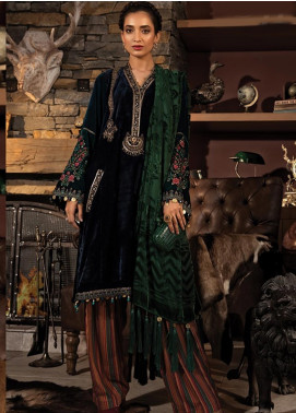 Maria B Embroidered Velvet Unstitched 3 Piece Suit MB19W 11 - Winter Collection