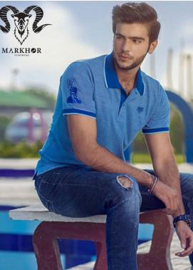 Markhor Clothing Cotton Casual Shirts for Men - Blue Blue Color Pique Cotton Summer Polo Shirt
