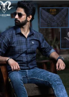 Markhor Clothing Denim Casual Shirts for Men - Blue Blue Chess Check Denim Cotton Shirt For Men