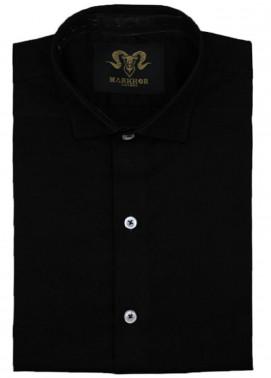 Markhor Clothing Chambray Cotton Formal Shirts for Men - Black Black Royal Chambray Cotton Slim Fit Formal Shirt