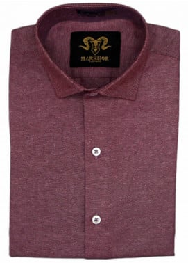Markhor Clothing Chambray Cotton Formal Men Shirts - Burgundy  Chambray Cotton Slim Fit Formal Shirt