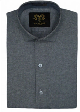 Markhor Clothing Chambray Cotton Formal Shirts for Men - Charcoal Grey Chambray Cotton Slim Fit Formal Shirt