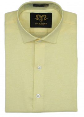 Markhor Clothing Chambray Cotton Formal Men Shirts - Lemon Yellow  Chambray Cotton Slim Fit Formal Shirt