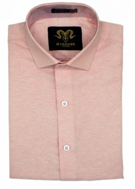 Markhor Clothing Chambray Cotton Formal Shirts for Men - Light Pink  Chambray Cotton Slim Fit Formal Shirt
