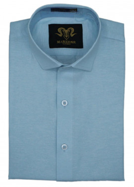 Markhor Clothing Chambray Cotton Formal Men Shirts - Sky Blue  Chambray Cotton Slim Fit Formal Shirt
