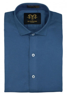 Markhor Clothing Chambray Cotton Formal Men Shirts - Solid Blue  Chambray Cotton Slim Fit Formal Shirt