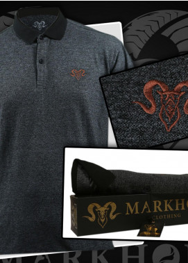 Markhor Clothing Cotton Casual Shirts for Men - Grey  Royal Bronze Embroidered Charcoal Color Summer Polo Shirt