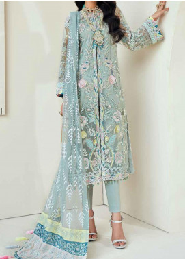 Marwa by Maryam Hussain Embroidered Net Unstitched 3 Piece Suit MRH20M 01 Iceberg - Luxury Collection