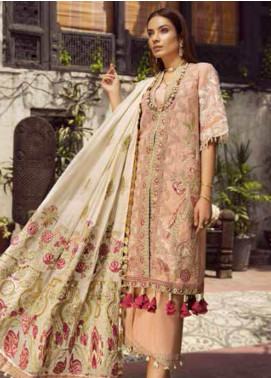 Maryam Hussain Embroidered Lawn Unstitched 3 Piece Suit MRH19F 02 ROSE - Festive Collection