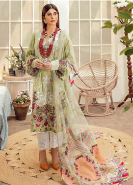 Maryam Hussain Embroidered Lawn Unstitched 3 Piece Suit MRH20F D-03 OLIVE GARDEN - Festive Collection