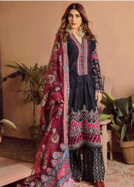 Maryam Hussain Embroidered Lawn Unstitched 3 Piece Suit MRH20F D-08 MIDNIGHT - Festive Collection