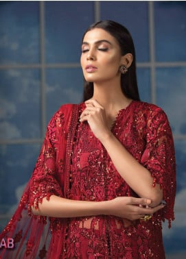 Maryam Hussain Embroidered Chiffon Unstitched 3 Piece Suit MRH19C 05 GULAAB - Luxury Collection