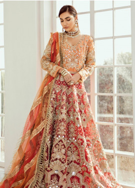 Maryum N Maria Embroidered Net Unstitched 2 Piece Suit MNM20B 02 Vermilion - Bridal Collection