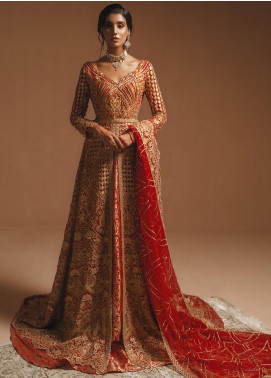 Maryum N Maria Embroidered Net Unstitched 3 Piece Suit MNM20HB 01 Red Gold - Bridal Collection