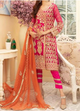 Maryum N Maria Embroidered Chiffon Unstitched 3 Piece Suit MNM20C 01 PINKILE WHELITE - Premium Collection