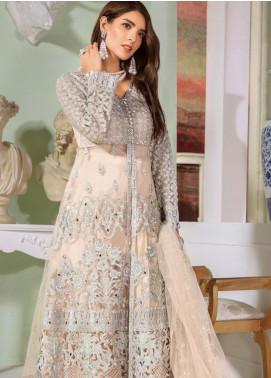 Maryum N Maria Embroidered Net Unstitched 3 Piece Suit MNM20C 03 Ordin Tine - Luxury Collection