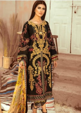 Maryum N Maria Embroidered Lawn Unstitched 3 Piece Suit MNM20L 05 BLACK ROMANCE - Premium Collection