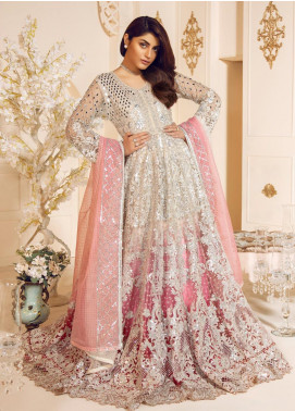Mashq Embroidered Net Unstitched 3 Piece Suit MAQ19C 10 PEAL PEACH - Premium Collection