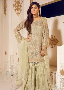 Mashq Embroidered Organza Unstitched 3 Piece Suit MAQ19C 6 WHISPER - Premium Collection