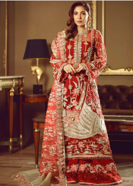 Meer by Maryam Hussain Embroidered Chiffon Unstitched 3 Piece Suit MRH19W GULAAB - Wedding Collection