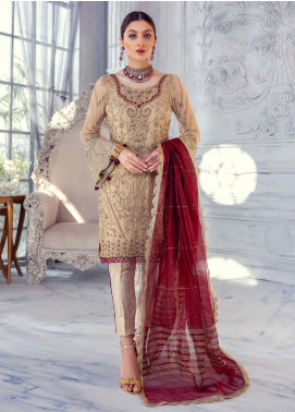 Meeral Embroidered Chiffon Unstitched 3 Piece Suit MRL20LX 01 - Luxury Collection