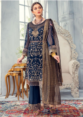 Meeral Embroidered Chiffon Unstitched 3 Piece Suit MRL20LX 02 - Luxury Collection