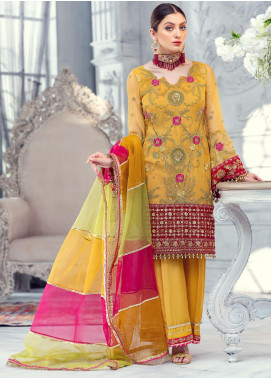 Meeral Embroidered Chiffon Unstitched 3 Piece Suit MRL20LX 03 - Luxury Collection