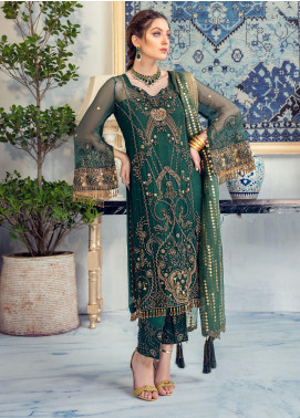 Meeral Embroidered Chiffon Unstitched 3 Piece Suit MRL20LX 04 - Luxury Collection
