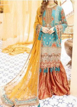 Mehfil by Adan's Libas Embroidered Chiffon Unstitched 3 Piece Suit AL20MW 4-DILKASH - Wedding Collection