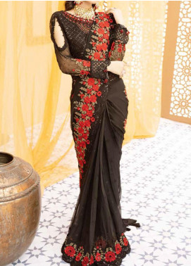 Mehfil by Adan's Libas Embroidered Chiffon Unstitched Saree AL20MW 5-PUR NOOR - Wedding Collection