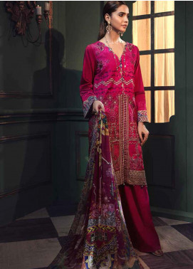 Mehrunisa by Motifz Embroidered Cotton Satin Unstitched 3 Piece Suit MT20MW 2666-FUCHSIA - Winter Collection