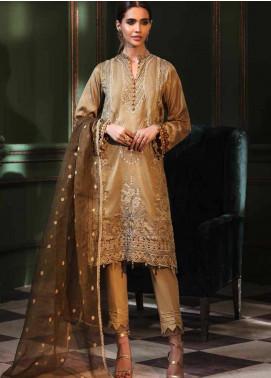 Mehrunisa by Motifz Embroidered Cotton Satin Unstitched 3 Piece Suit MT20MW 2671-HAZELNUT - Winter Collection