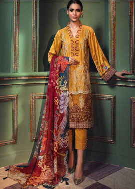 Mehrunisa by Motifz Embroidered Cotton Satin Unstitched 3 Piece Suit MT20MW 2675-TUSCAN-SUN - Winter Collection