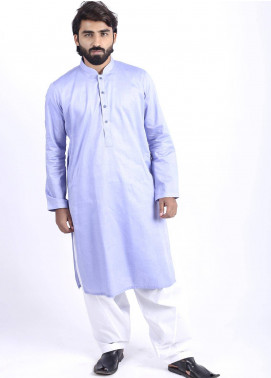 Sanaulla Exclusive Range Cotton Formal Kurtas for Men - Blue SAM18K 01