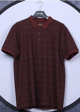 Sanaulla Exclusive Range Cotton Casual T-Shirts for Men -  5060 Maroon