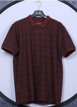 Sanaulla Exclusive Range Cotton Casual T-Shirts for Men - 5060 Maroon