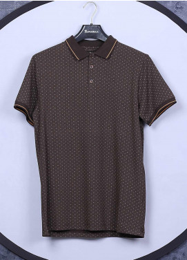 Sanaulla Exclusive Range Cotton Casual T-Shirts for Men - 5525 Brown