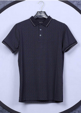 Sanaulla Exclusive Range Cotton Casual Men T-Shirts -  5525 Navy Blue