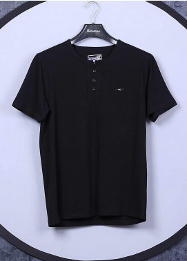 Sanaulla Exclusive Range Cotton Casual Mens T-Shirts -  5622 Black