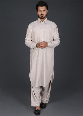 Sanaulla Exclusive Range Cotton Formal Kameez Shalwar for Men -  P-15 Gold