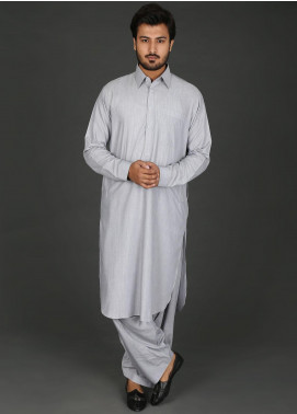 Sanaulla Exclusive Range Cotton Formal Men Kameez Shalwar -  P-15 Grey