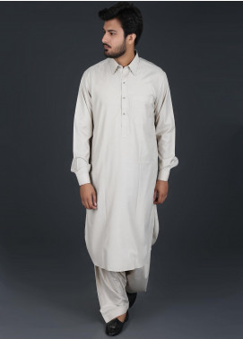 Sanaulla Exclusive Range Cotton Formal Men Kameez Shalwar -  P-16 Beige
