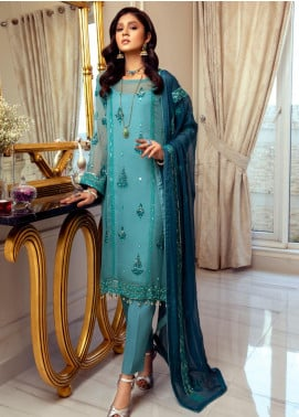 Meraki by ZS Textiles Embroidered Chiffon Unstitched 3 Piece Suit ZS21M 03 - Luxury Collection