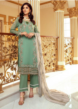 Meraki by ZS Textiles Embroidered Chiffon Unstitched 3 Piece Suit ZS21M 05 - Luxury Collection