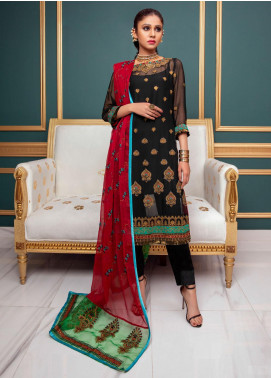 Meraki by ZS Textiles Embroidered Chiffon Unstitched 3 Piece Suit ZS21M 13 - Luxury Collection