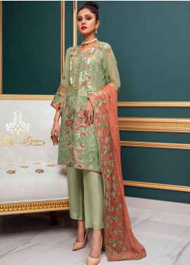 Meraki by ZS Textiles Embroidered Chiffon Unstitched 3 Piece Suit ZS21M 14 - Luxury Collection