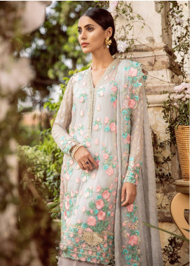 Mina Hasan Embroidered Chiffon Unstitched 3 Piece Suit MH18C GUL BAHAAR - Festive Collection
