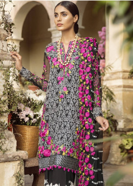 Mina Hasan Embroidered Chiffon Unstitched 3 Piece Suit MH18C MARJAAN - Festive Collection