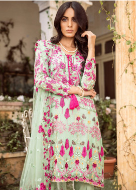 Mina Hasan Embroidered Chiffon Unstitched 3 Piece Suit MH18C NAFEESA - Festive Collection